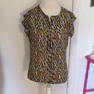 Worthington Large Black & Yellow Blouse L